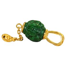 Estate 24K Detailed Carved Spinach Jade Pendant