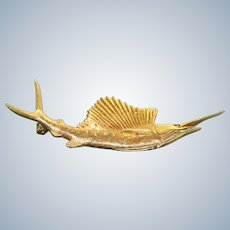 Estate 18K Krementz Swordfish Brooch