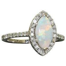 Estate 14KW Opal and Diamond Marquise Ring