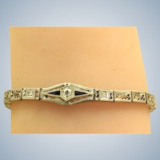Estate Platinum Diamond and Sapphire Filigree Bracelet