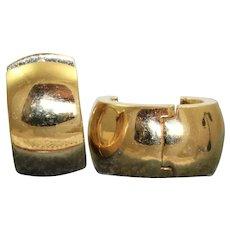 Estate 14K Solid Huggie Earrings