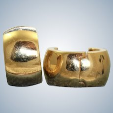 Estate 14K Solid Huggie Earrings