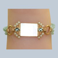 Estate 14K MOP Chinese Poker Chip Aquamarine and Pearl Bracelet