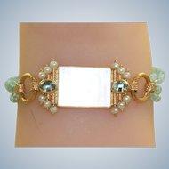 Estate 14K MOP Chinese Poker Chip Aquamarine and Pearl Bracelet