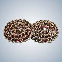 Estate 14K Victorian Revival Rose Cut Garnet Omega Earrings
