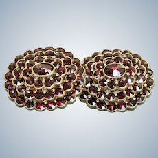 Estate 14K Victorian Revival Rose Cut Garnet Omega Earrings