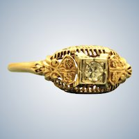 Estate 14K Filigree Diamond Ring