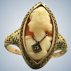 Estate 14K Filigree Cameo Ring with a Diamond