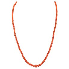 Estate 14K Graduated Natural Coral Necklace