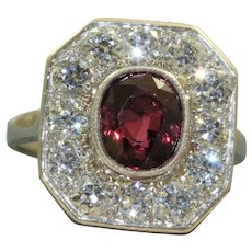 1920's Platinum Ruby and Diamond Ring