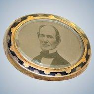 19th Century Pinchback Tintype Locket/Brooch