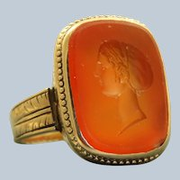 18K Detailed Carnelian Intaglio Ring