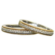 Estate 18K Two Tone Diamond Ring Guards
