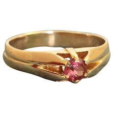 Estate 14K 0.25 CT Rhodolite Garnet Belcher Ring