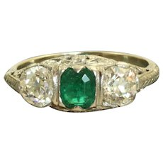 Estate 14KW and Platinum Emerald and Diamond Filigree Ring