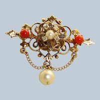 Estate 14K Diamond Coral and Pearl Pin/Pendant