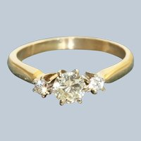 Estate 14K/Platinum  0.59 CTW Diamond Three Stone Ring