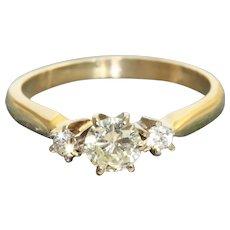 Estate 14K/Platinum  0.59 CTW Diamond Three Stone Ring