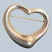 Estate Sterling Tiffany Peretti Heart Brooch