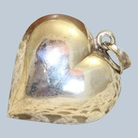 Estate Sterling Large Puffy Heart Pendant