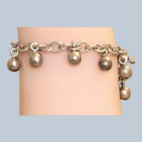 Estate Sterling Ball Fringe Toggle Bracelet