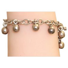 Estate Sterling Ball Fringe Toggle Bracelet