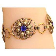 Estate Sterling Gilt Blue Stone Flower Bracelet