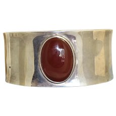 Estate Sterling Carnelian Cuff from Mexico