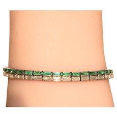 Estate Sterling ans Crystal Double Bracelet