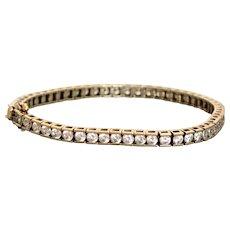 Estate Sterling Gilt CZ In Line Travel Bracelet