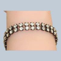 Vintage Silvertone Double Rhinestone Bracelet