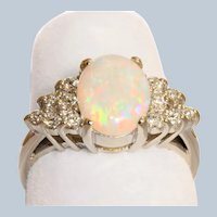 Estate 14KW Opal and Diamond Ring
