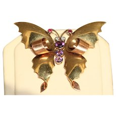Retro Two Toned Bejeweled Butterfly by Eckfeldt & Ackley