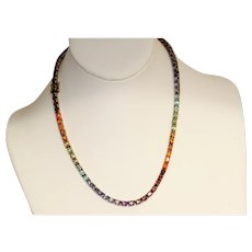 Estate Sterling Gilt Rainbow Gem In Line Necklace