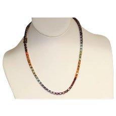 Estate Sterling Gilt Rainbow Gem In Line Necklace