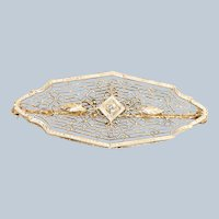 Edwardian 14K Krementz Filigree Diamond Bar Pin