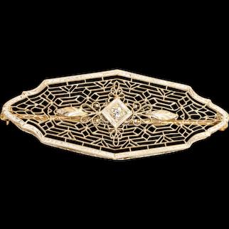 Edwardian 14K Krementz Filigree Diamond Bar Pin