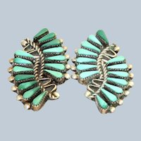 Estate Sterling Zuni Clip Earrings