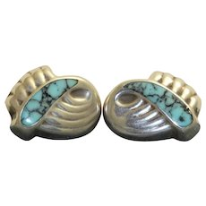 Post 1980 Sterling Turquoise Clip Earrings - Mexico