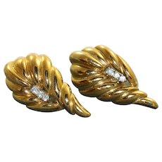 Estate 14K Diamond Shrimp Omega Earrings
