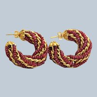 Estate 18K Ruby Twisted Half Hoop Earrings