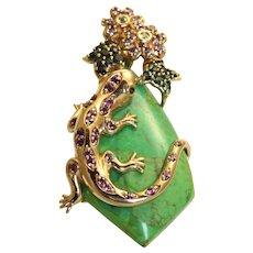 Estate 14K Bejeweled Jade Pendant