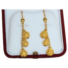 Estate 24K Textured Gold Dangle Earrings