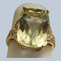 Estate 10K Green Prasiolite and Diamond 8 CT Ring