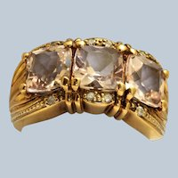 Estate 14K Three Stone Morganite Diamond Ring