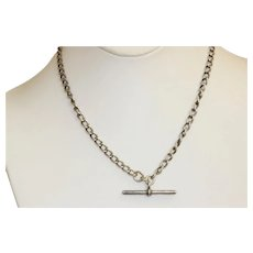 """1904 18"""" Sterling Double Dog Clip and 'T' Bar Watch Chain"""