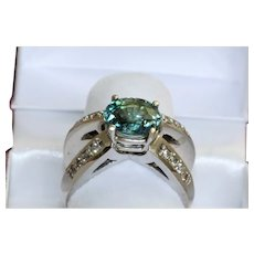 Estate 14K Modernist Blue Zircon and Diamond Ring