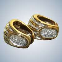 Estate 14K Diamond Huggie Earrings