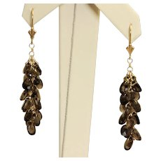 Estate 14K Smokey Quartz Dangle Earrings