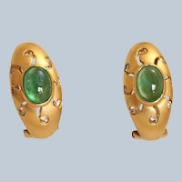 14K Emerald Cabochon Etoile Diamond Earrings